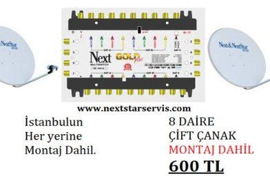 8 Daire Nextstar Çift Çanak Merkezi Uydu Sistemi