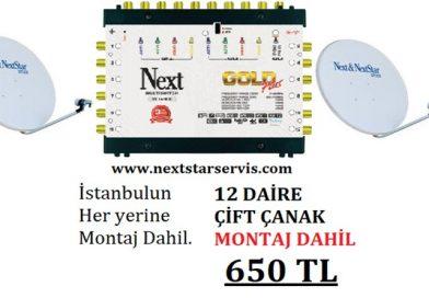 12 Daire Nextstar Çift Çanak Merkezi Uydu Sistemi