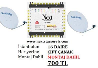 16 Daire Nextstar Çift Çanak Merkezi Uydu Sistemi