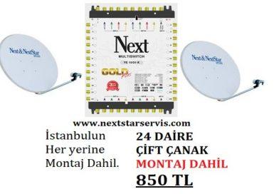 24 Daire Nextstar Çift Çanak Merkezi Uydu Sistemi